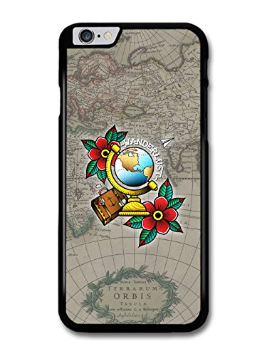 Wanderlust Travelling Map With Tattoo Flash Flower Design case for iPhone 6 Plus 6S Plus