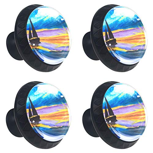 Art Sailboat Painting Drawer Knob Pull Handle Crystal Glass Circle Shape Cabinet Drawer Pulls Cupboard Knobs with Screws for Home Office Cabinet Cupboard 4 Pieces ()