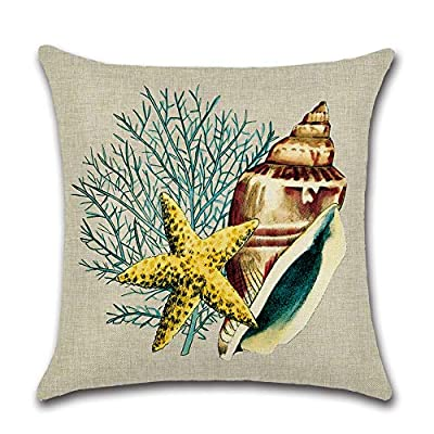 wtisan Ocean Park Conch Throw Pillow Covers,Square 18 Inches Decorative Cotton line Pillow Cover for Nautical Conch Style 18 X 18 Inch, Set of 4: Home & Kitchen