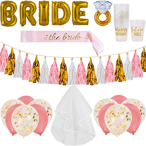 Bachelorette Party Decorations Kit | Bridal Shower Supplies | Bride Sash, Veil, 12 Frosted Cups, Gold Foil Bride Balloons, 6 Rose and 6 Gold Confetti Balloons, Diamond Ring Balloon, Stringed Tassels