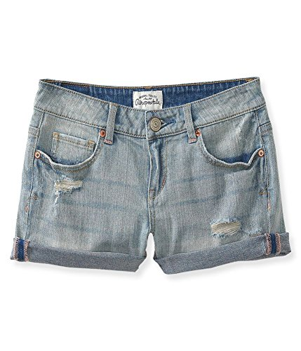 Aeropostale Women's Midi Jean Shorts Light Wash Destructed 3/4