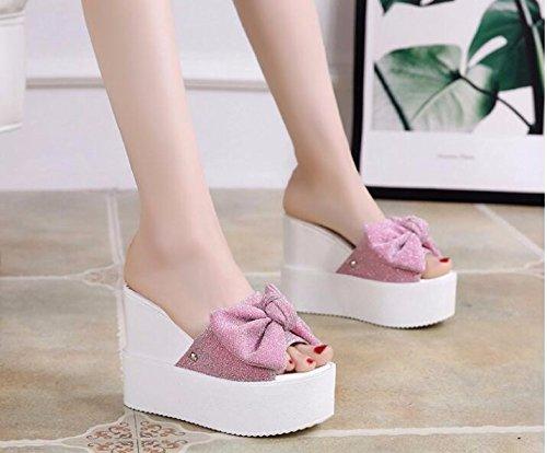 HBDLH Damen Schuhe Mode Slope Heels Hausschuhe Mädchen Mädchen Mädchen Sommer Schleife 12 cm Super High Heel Dick unten Außerhalb tragen dünn Cool Drag d86ddf