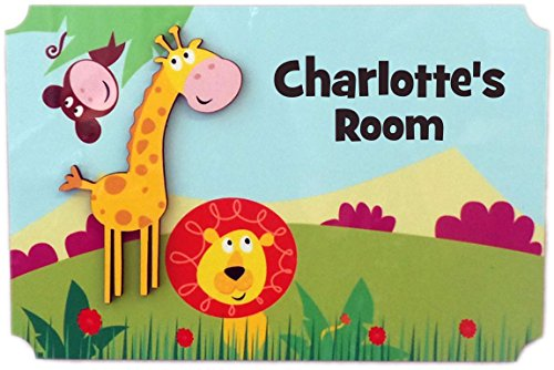 Knight Room Sign - Rikki Knight Charlotte's Room - 3D Giraffe on Jungle - Door Sign Plaque with Name for Children and Baby's Bedroom