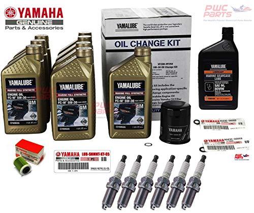 (YAMAHA SHO VMAX V6 250 225 200 VF250 VF200 VF225 Outboard 4-Stroke Oil Change & Maintenance Kit Oil Filter Fuel Filter Lower Unit Gear Lube HD Kit Gaskets NGK LFR6A-11 Spark Plugs LUB-MRNSH-KT-05)