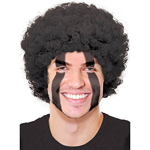 Afro Hat (Amscan Curly Afro Wig (1 Piece), Black, 11 x 8