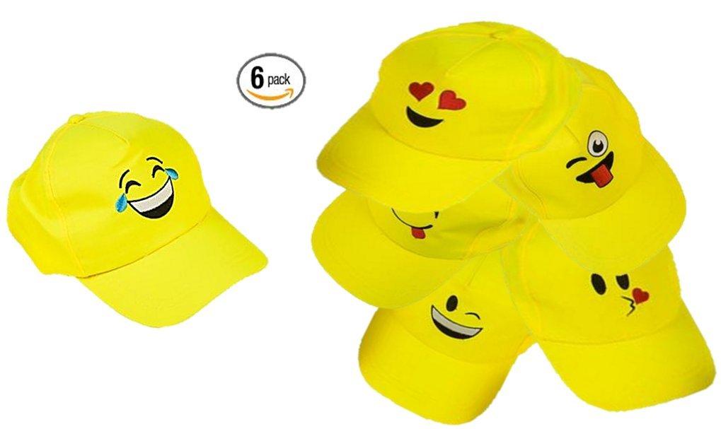 Play Kreative Emoji Baseball Cap - 6 Yellow Emoticon Hats by Play Kreative Tm (Image #2)