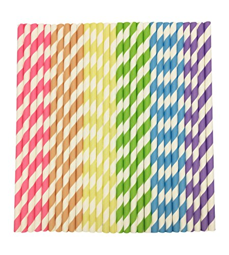 25 pcs Colorful Striped Paper Drinking Straws Wedding Bridal Shower Party Decor