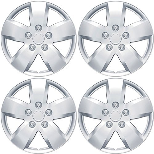 BDK T1022 16 ABS Hubcaps for Nissan Altima Wheel Replica-16 Inch Hub Cap Covers Silver