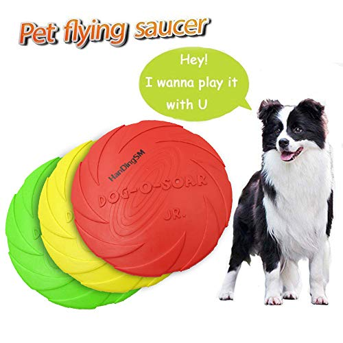 Dog Frisbee Toy,Pet Training Cyber Rubber Flying Saucer Interactive Toys,Floating Water Dog Toy Suitable for Small, Medium, or Large Dogs Outdoor Flight,1pcs (Large, Yellow)