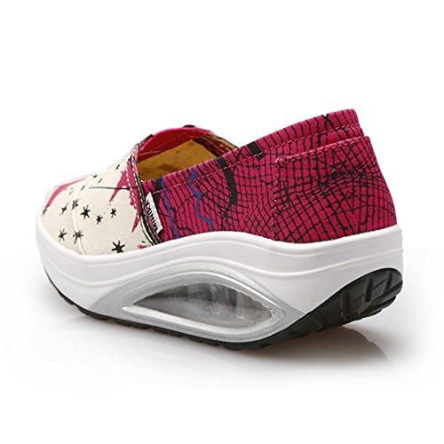 Baskets De Toile De Mode Des Femmes Air Coussin Glisser Sur Des Chaussures De Sport De Voyage Respirant Confortable Par Btrada Red