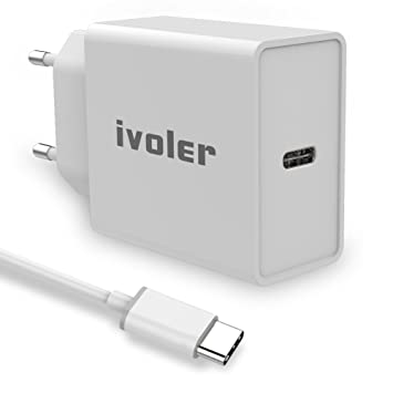 iVoler 25W Quick Charge 3.0 USB Type C Cargador de Red (1M USB-C Cable Incluido) con Power Delivery 3.0, USB PD Cargador Rápido para iPhone,iPad ...