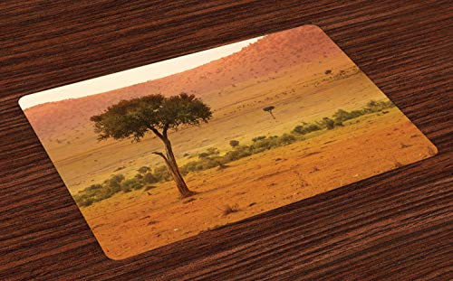 Lunarable Wilderness Place Mats Set of 4, View of African Savannah at Sunset Barren Landscape with Trees Bushes, Washable Fabric Placemats for Dining Room Kitchen Table Decor, Orange Coral Green