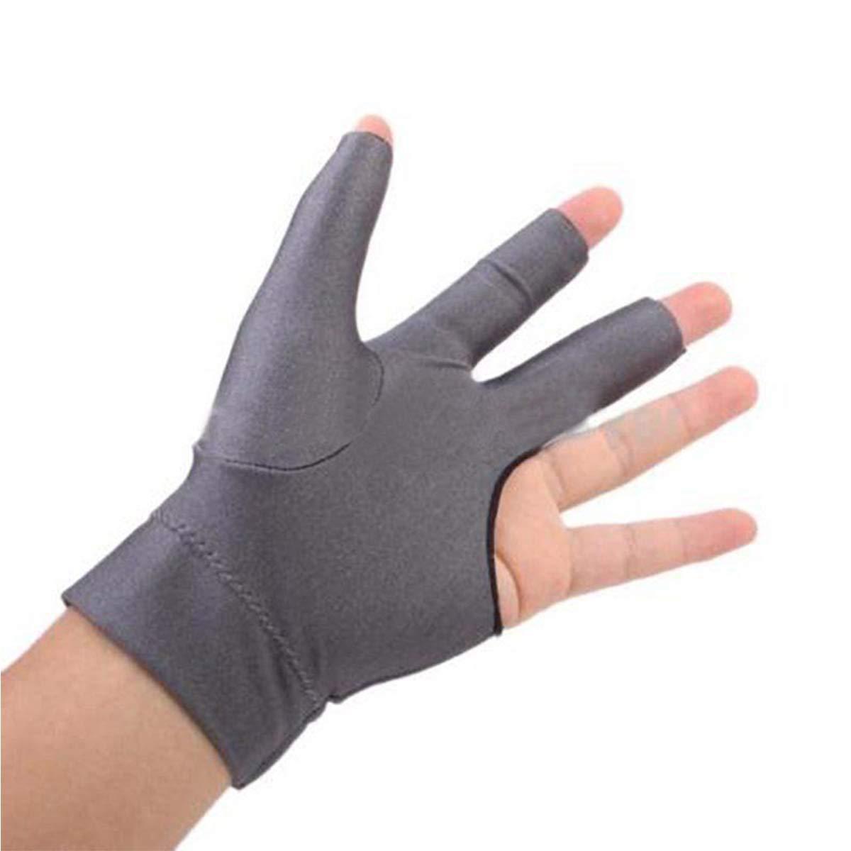 プロフェッショナルビリヤードLeft手3つ指スヌーカーキューShooters手袋  グレー B074KB9HPF