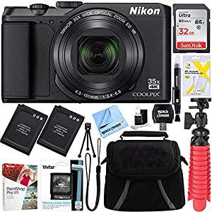 Nikon A900 20MP Longest Slim Zoom COOLPIX WiFi Digital Camera with 4K UHD Video 35x Telephoto NIKKOR Zoom Lens + 64GB Dual Battery Accessory Bundle