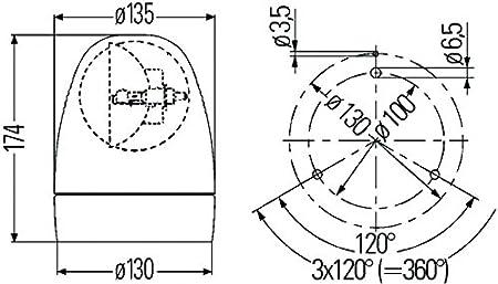 Rotating Patterns Amber HELLA 009506011 KL Rotacompact Flex Mount Beacon Warning Light 24V