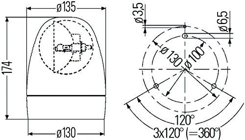 HELLA 009506201 KL Rotacompact Fixed Mount Beacon Warning Light, Rotating Patterns, 12V, Amber