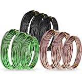 Zhanmai 9 Rolls Bonsai Wires Anodized Aluminum Bonsai Training Wire with 3 Colors (Black, Brown, Green) and 3 Sizes (1.0 mm, 1.5 mm, 2.0 mm), Total 147 Feet