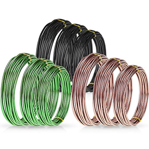 Zhanmai 9 Rolls Bonsai Wires Anodized Aluminum Bonsai Coaching Wire with three Sizes (1.zero mm, 1.5 mm, 2.zero mm), Complete 147 Ft (Black, Brown, Inexperienced)