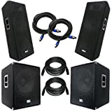 Seismic Audio - AftershockPKG2 - Pair of POWERED 18'' Subwoofers, Pair of Dual 15'' PA Speakers, with Speaker and Microphone Cables - PA/DJ Package