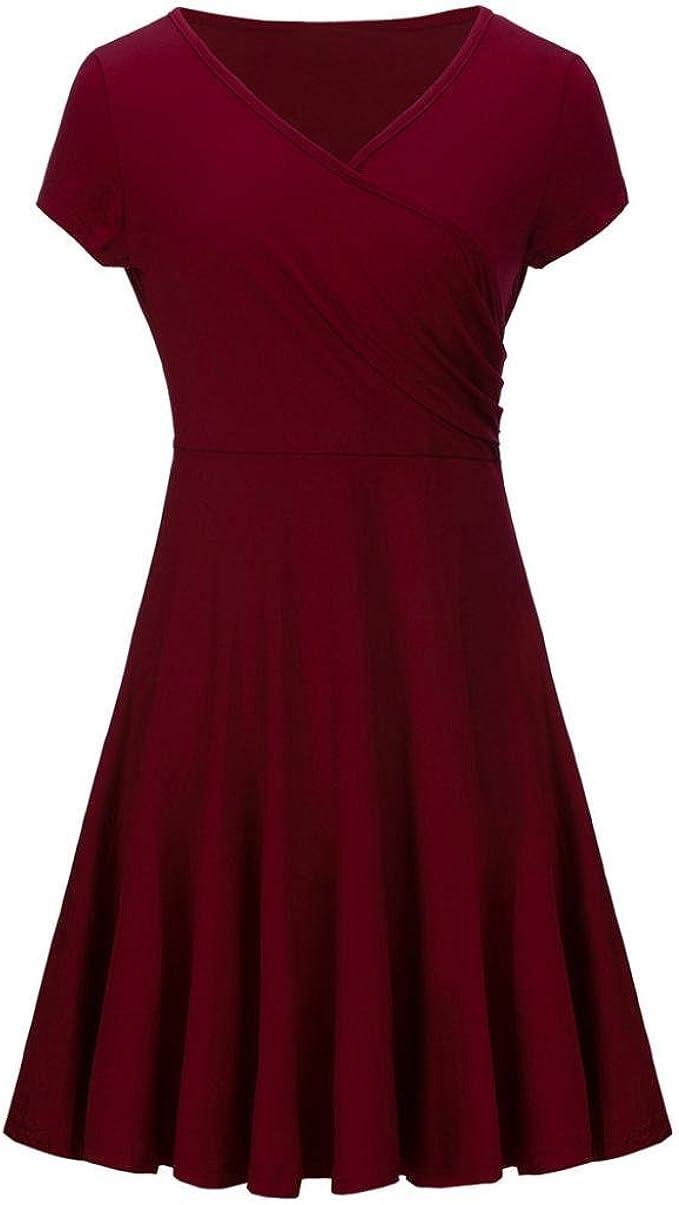 ZahuihuiM Damen Sommer Herbst Schwarz Rot Knielanges Midi Kleid V