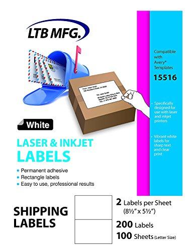 LTB MFG 002-100 Laser Inkjet PRINTER Shipping Labels, 200 Labels, 100 Sheets, 2 Labels Per Sheet, 0.8