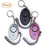 REDPINGUO Emergency Personal Alarm,135DB Self-Defense Electronic Device Security Alarm Keychain with LED Light for Women Kids Girls Elderly Safety - 3 Pack(Black, Silver, Purple)