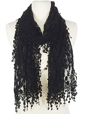 Women's lightweight Feminine lace teardrop fringe Branches Leaf Lace Shawl Vintage Scarf for Women (Black)