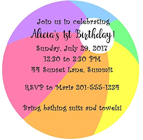 Set of 10 ROUND CIRCLE Boy or Girls Birthday Party Invitations In the Shape of a Beach Ball - All Wording Customized for You!!Can Be Used for Pool Party, BBQ, -