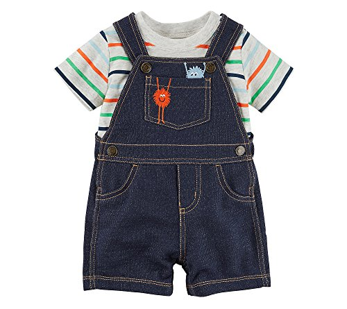 Carters Baby Boys 2 Piece Striped Monster Tee And Shortalls Set 18 Months