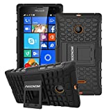 Lumia 435 Case, Pasonomi® Heavy Duty Hybrid Armor Case Cover with Soft Inner Skin and Kickstand For Microsoft Nokia Lumia 435 (Armor Series Black)