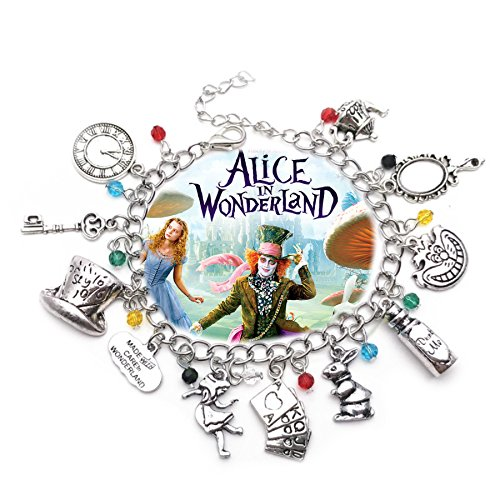 Alice in Wonderland 11 Themed Charms Silvertone Metal Charm Bracelet ()
