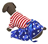 Puppy Clothes Dog Dress 4th July Red White Stripe Cotton T Shirt Stars Blue Tutu (Small) Review