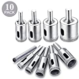 Diamond Drill Bit Set, Drillpro 10 PCS Glass Hole Saw for Tiles Glass Ceramic Marble Bottles DIY,6mm -- 30mm