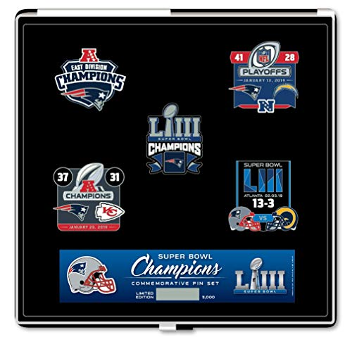 (Pro Specialties Group New England Patriots Super Bowl LIII 53 Champions Commemorative Pin Set - Limited Edition )