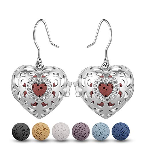 INFUSEU Heart Lava Stone Rock Earrings for Women Essential Oil Diffuser Aromatherapy Jewelry set, Fleur de Lis Drop Dangling Earrings
