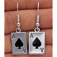 phitak shop 925 Silver Plated Hook - 1.6 Poker Rectangle A Spades Punk Club Earrings #17