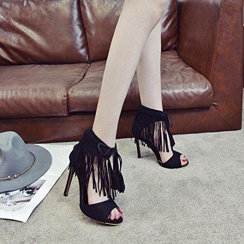 Janly® Summer Shoes, Womans Tassel Ankle High Heels Shoes Ladies Girls Strap Peep Toe Party Singel Shoes Black