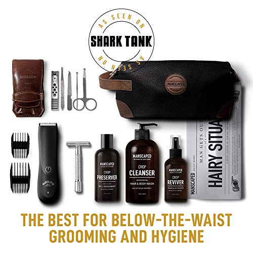 - Manscaped Perfect Package 2.0 Kit Contains: Electric Trimmer, Ball Deodorant, Body Wash, Performance Spray-on-body Toner, Double Edged Straight Razor, Five Piece Nail Kit, Luxury Bag, Shaving Mats