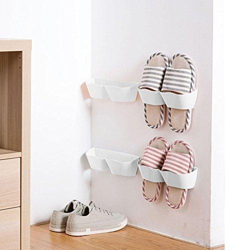(White) MEOLY Set of 4pcs Home Shoe Shelf Plastic Wall Mounted Shoes Rack for Entryway Over the Door Shoe Hangers Organiser Hanging Shoe Storage Racks(White) B06XSJBBHGホワイト