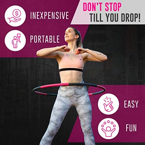 HULALAA Hula Hoops for Adults Weight Loss, Weighted Hula Hoop for Exercise and Fitness, 8 Sections Adjustable Weights, Weighted Hoola Hoop for Adults and Home Workout 2