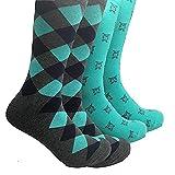 Sock Habit Mens Colorful Patterned Dress Socks Argyle Owl 2 Pair Grey Green