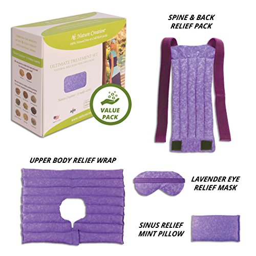 Nature Creation Ultimate Set- Herbal Heat Pack/Cold Pack – Microwavable & Reusable Aroma Heat Therapy for Stress, Anxiety Relief (Purple ()