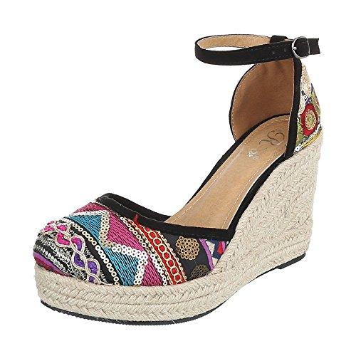 Multi femme Ital compensées 6295 Schwarz Design chaussures P qwqt1aX