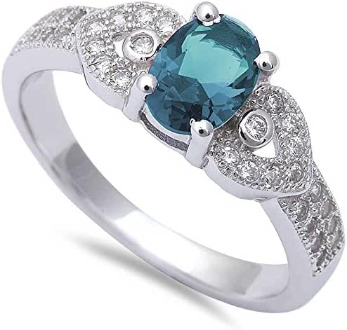 Oval Simulated Aquamarine & Micro Pave Cubic Zirconia Fashion .925 Sterling Silver Ring Sizes 5-10