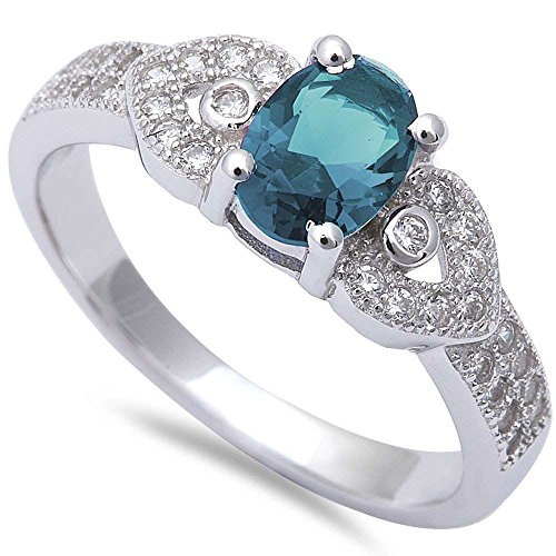 - Oval Simulated Aquamarine & Micro Pave Cubic Zirconia Fashion .925 Sterling Silver Ring Size 8