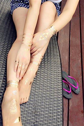 ChicTats Brillantes tatuajes temporales de color metálico dorados ...