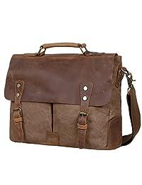 S-ZONE Fashion Canvas Genuine Leather Trim Travel Briefcase Laptop Bag (Coffee)