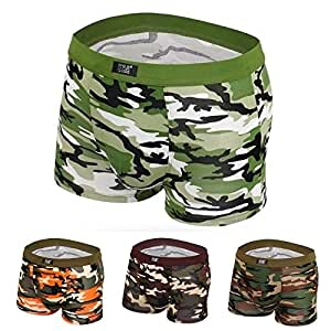DENG&XUE 1PC Men's Camouflage Cotton Underwear Boxer Shorts, 4 Colors (Brown,XXL)