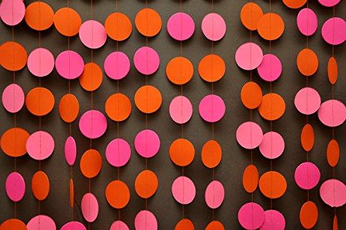 Neon garland, Birthday party decor, Pink orange garland, Hawaiian party decorations, Summer decoration, Nursery decor, Neon wedding -