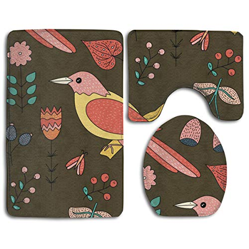 (LYIR Colored Bird Perched On A Tree Trunk Toilet Carpet,Fashion Bathroom Rug Mats Set 3 Piece Anti-Skid Pads Bath Mat + Contour + Toilet Lid Cover)